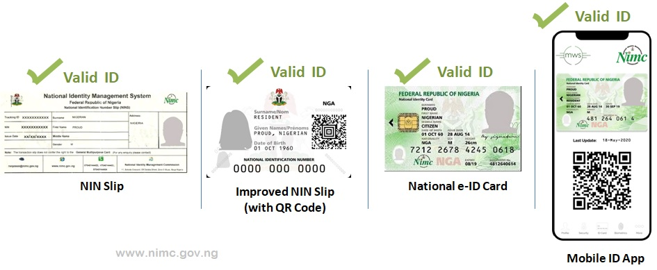 Valid Forms of ID from NIMC - NIN Slip, Improved NIN Slip with QR Code, National e-ID Card and MWS Mobile ID App