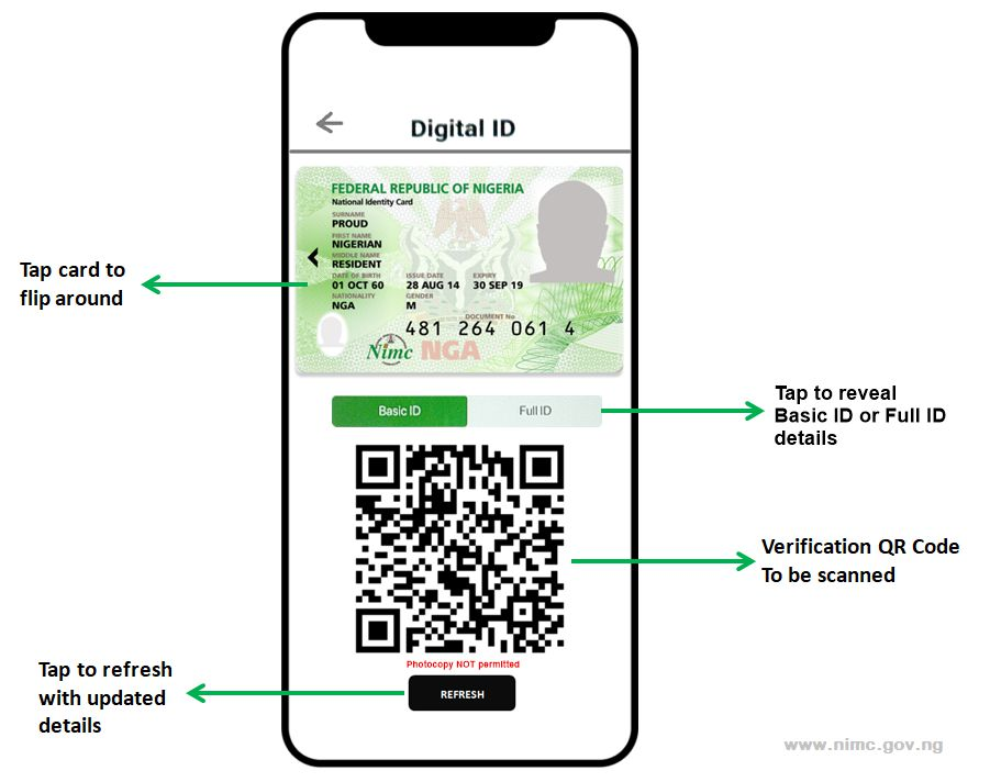 NIMC MWS Mobile ID App Virtual Card