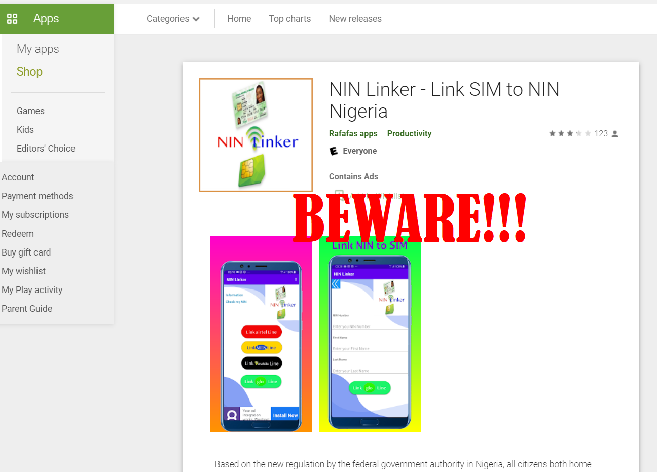 Beware of Unauthorised Apps Asking for your NIN (e.g. NIN Linker)