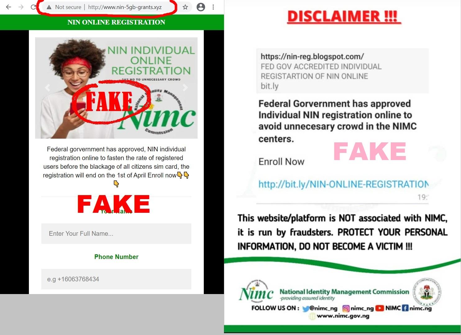 Fake NIN Registration