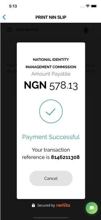 Remita Payment Successful screen