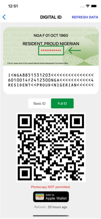 Virtual ID Card with NIN masked