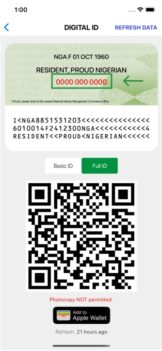 Virtual ID Card with NIN displayed
