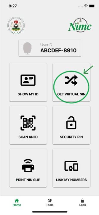 Get Virtual NIN button