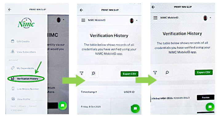 Access and print Verification History record logs